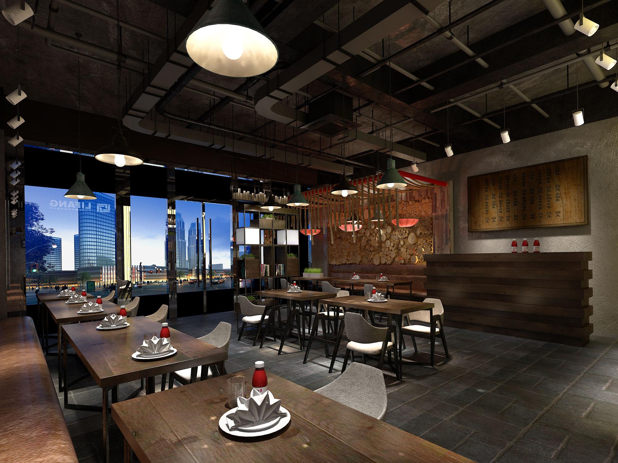 餐饮店铺室内装修设计门头设计效果图设计