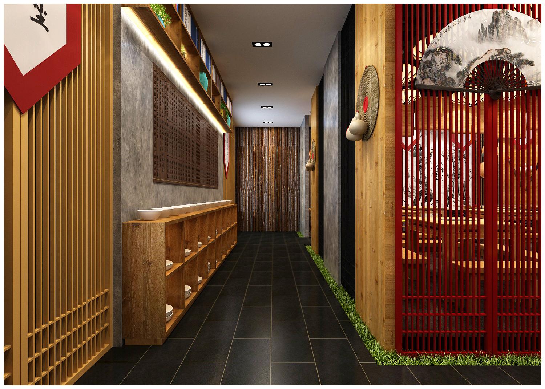 禅意餐厅设计,中式餐厅效果图,新中式风格快餐店铺,武侠风餐厅