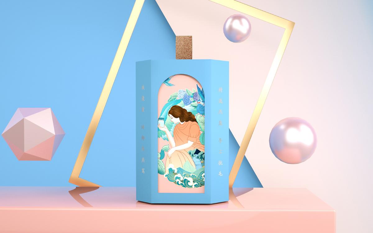 包装盒设计茶叶包装设计绘画插画设计效果图手提袋外包装设计