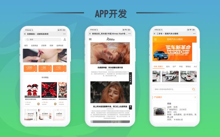 定制APP开发手机商城旅游酒店汽车官网买卖租赁酒水饮料百货