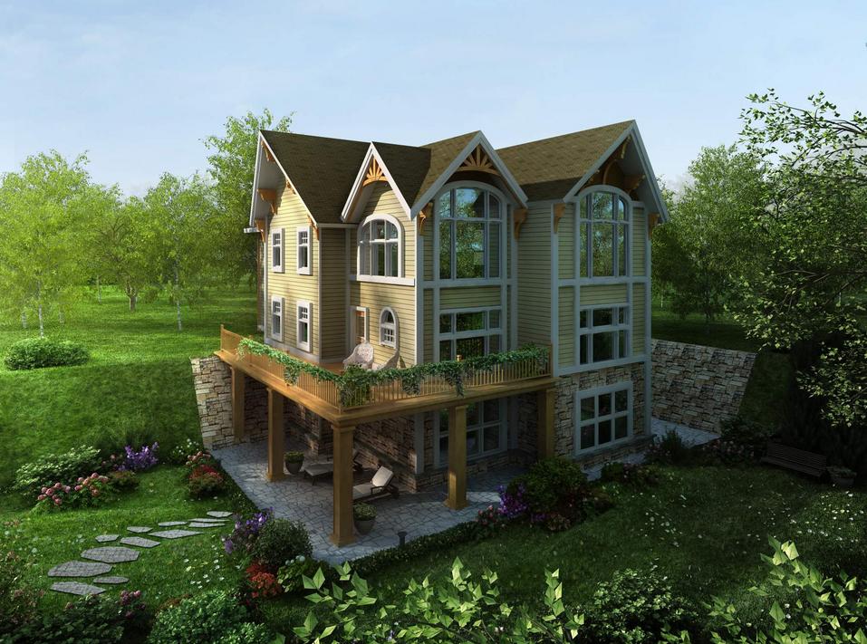 三层自建房/别墅/四合院/房子/住房/楼房农家乐建房全套设计