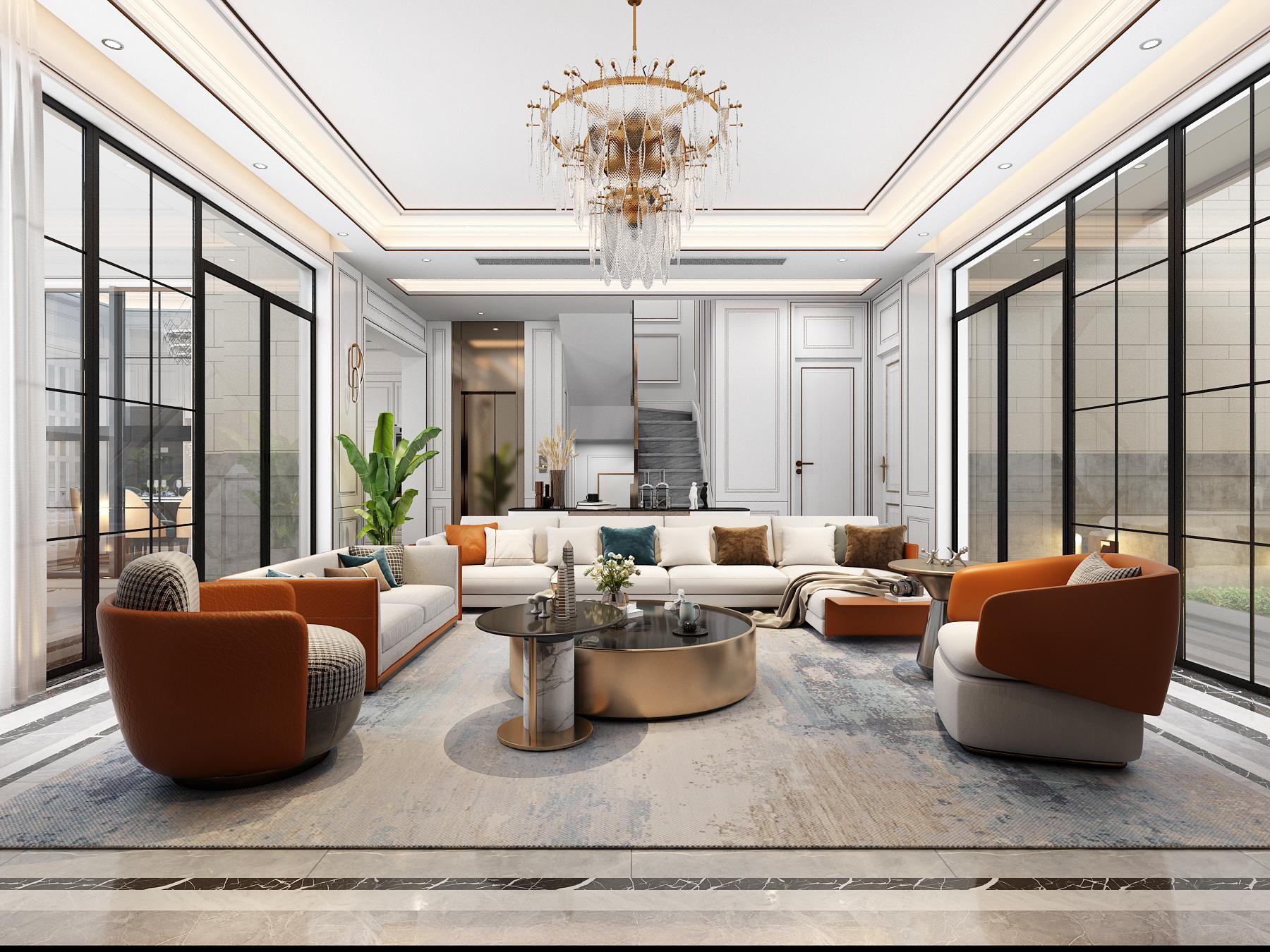别墅设计装修设计效果图设计施工图室内设计低奢中式设计
