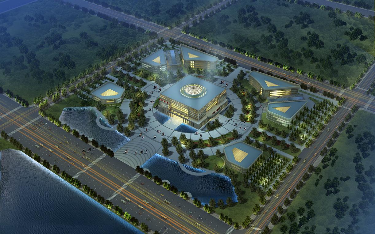 厂区鸟瞰图设计效果图商业建筑商场工装效果图室外景观道路绿化